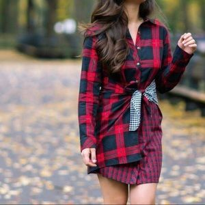 Skies Are Blue Vanna Red Mixed Plaid Flannel Dress